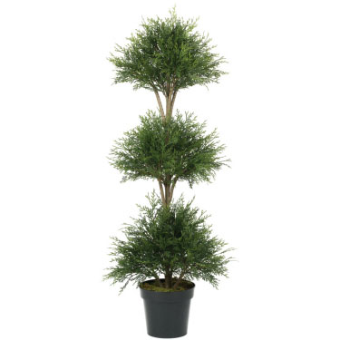 Pine Cedar Ball Triple Topiary  - Artificial Trees - artificial Christmas triple Topiary Trees for rent