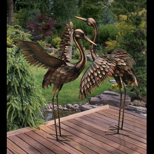 Flying Cranes Pair - Idea Gallery - Bird Companion pairs metal