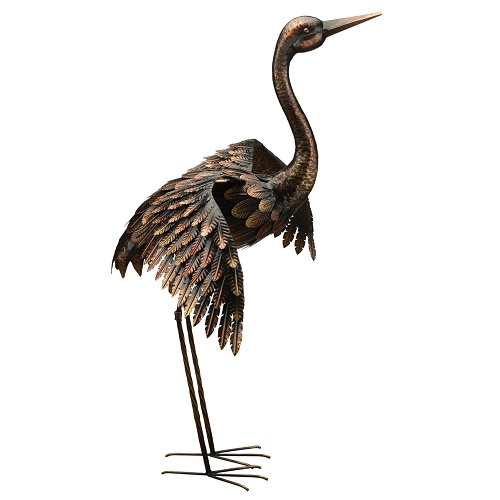 Crane Taking Off - Bronze - Exclusive Ironworks - Standing metal bird with wings open