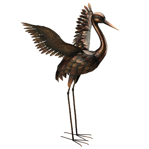 Crane Landing - Bronze - Exclusive Ironworks - Bronze Crane Landing with wings up