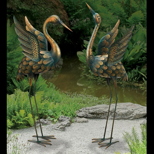 Crane Companions - Idea Gallery - metal bronzed birds for the garden