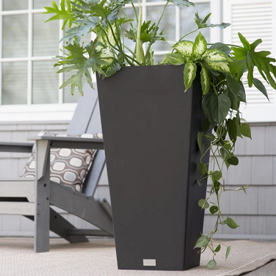 Veradek Midland Tall Square Planter - Events & Themes - Tall Black planter for rent