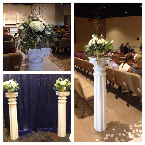 Designs by lisa wedding columns for rent for Premade columns