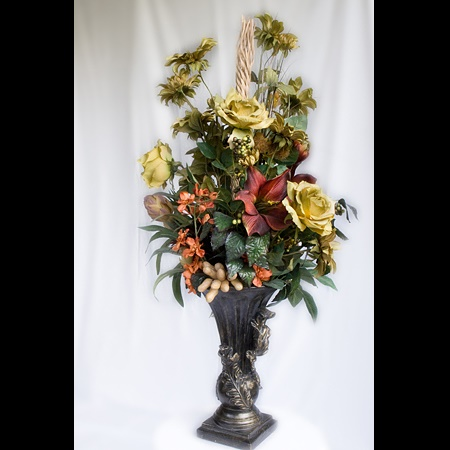 Fall Arrangement - Centerpieces & Columns - Brown Wedding artificial fall arrangement for rent