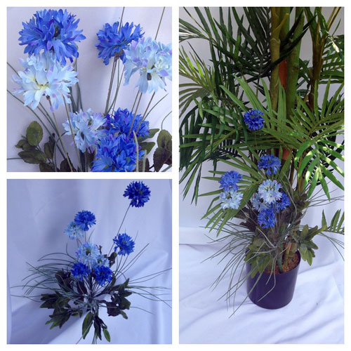 Bachelor Button Mixed Bush - Artificial floral - affordable artificial blue flowers