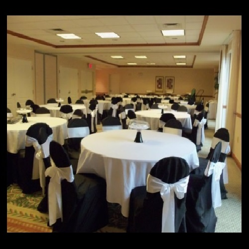 Black Chair Cover with White Satin Sash - Idea Gallery - Black and White Wedding