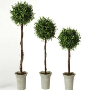 Tabletop Boxwood Topiary Set of 3 - Artificial Trees - Topiary buffet centerpiece idea