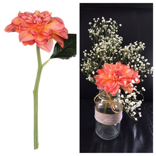 Dahlia - Coral - Artificial floral - artificial Coral colored flowers for rent