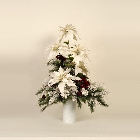 Christmas Centerpiece - White - Themed Rentals - artificial large White Poinsettia Christmas Centerpiece for Lease