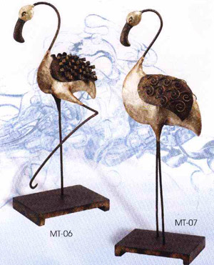 Flamingo Pair Metal - Exclusive Ironworks - Nautical prom decorations for buffet table
