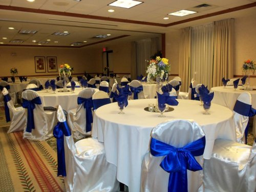 White Chair Covers with Royal Blue Sash - Idea Gallery - Royal Blue Satin Sash Wedding