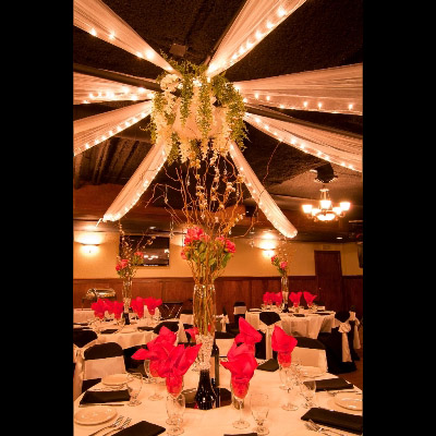 Wisteria Centerpiece - Ceiling Drapery - Events & Themes - Hanging flowers in middle of ceiling drapery