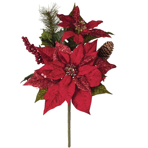 Poinsettia Berry Pick - Artificial floral - Red Poinsettia Christmas picks bulk sales