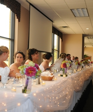 Head Table Tulle & Icicle Lights - Events & Themes - head table decorating ideas