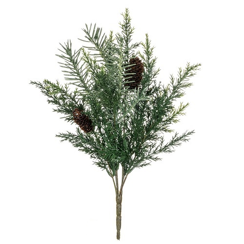 Silver Sparkle Prickly Pine Bush - Artificial floral - Green silver bling fillers for artificial Christmas arrangements