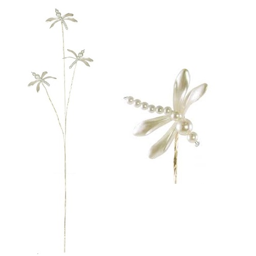 Pearl Dragonfly Pick - Ivory - Artificial floral - Pearl Dragonfly spray for sale