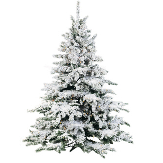 Flocked Pine 9' - Artificial Trees & Floor Plants - 9 foot flocked Christmas tree commercial