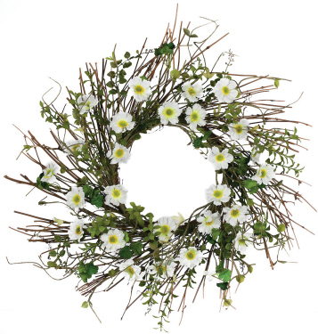 Daisy Herb Wreath - Artificial floral - Daisy and sticks table centerpiece idea