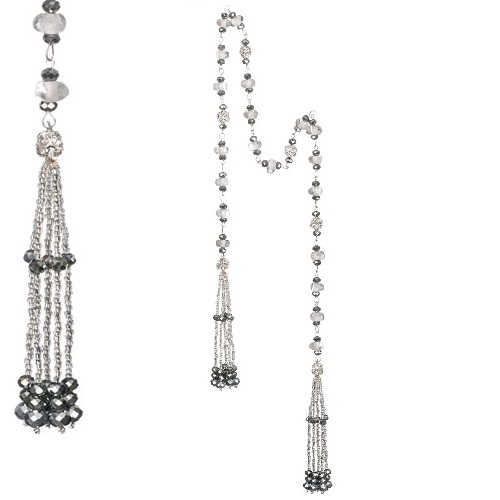 Tassel Silver Glass Bead Garland - Events & Themes - Garland with Silver Tassels Novelty