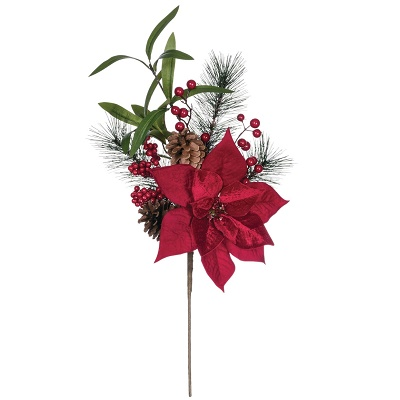 Pine Poinsettia Cone Berry Spray - Artificial floral - Red Poinsettia Christmas picks bulk sales