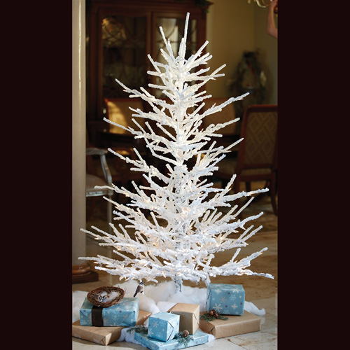Flocked Twig Tree 5' - Artificial Trees - White Charlie Brown Tree