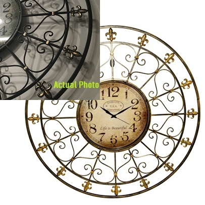 Elegant Designer French Wall Clock - Themed Rentals - large designer clocks for sale